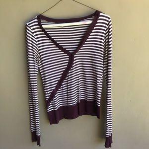 Maroon & White Asymmetrical Stripe Long Sleeve Top